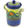 9-inch Stoneware Jar with Lid and Handles - Polmedia Polish Pottery H3604G
