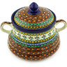 9-inch Stoneware Jar with Lid and Handles - Polmedia Polish Pottery H4117G