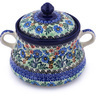 9-inch Stoneware Jar with Lid and Handles - Polmedia Polish Pottery H8399G