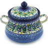 9-inch Stoneware Jar with Lid and Handles - Polmedia Polish Pottery H8437G