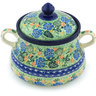 9-inch Stoneware Jar with Lid and Handles - Polmedia Polish Pottery H8545G