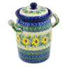 9-inch Stoneware Jar with Lid and Handles - Polmedia Polish Pottery H8547J