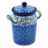 9-inch Stoneware Jar with Lid and Handles - Polmedia Polish Pottery H8551J
