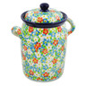 9-inch Stoneware Jar with Lid and Handles - Polmedia Polish Pottery H8552J