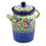 9-inch Stoneware Jar with Lid and Handles - Polmedia Polish Pottery H8557J