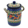 9-inch Stoneware Jar with Lid and Handles - Polmedia Polish Pottery H8559J