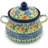 9-inch Stoneware Jar with Lid and Handles - Polmedia Polish Pottery H8601G
