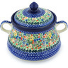 9-inch Stoneware Jar with Lid and Handles - Polmedia Polish Pottery H8821G