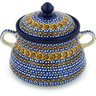 9-inch Stoneware Jar with Lid and Handles - Polmedia Polish Pottery H9176G