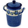 9-inch Stoneware Jar with Lid and Handles - Polmedia Polish Pottery H9331C