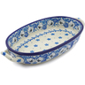 9-inch Stoneware Oval Baker with Handles - Polmedia Polish Pottery H2823J