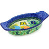 9-inch Stoneware Oval Baker with Handles - Polmedia Polish Pottery H4438G