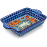 9-inch Stoneware Rectangular Baker with Handles - Polmedia Polish Pottery H3136J