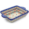 9-inch Stoneware Rectangular Baker with Handles - Polmedia Polish Pottery H3221J