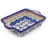 9-inch Stoneware Rectangular Baker with Handles - Polmedia Polish Pottery H3966J