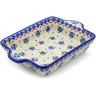 9-inch Stoneware Rectangular Baker with Handles - Polmedia Polish Pottery H3972J