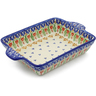 9-inch Stoneware Rectangular Baker with Handles - Polmedia Polish Pottery H3986J