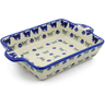 9-inch Stoneware Rectangular Baker with Handles - Polmedia Polish Pottery H4012J