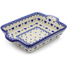 9-inch Stoneware Rectangular Baker with Handles - Polmedia Polish Pottery H4029J