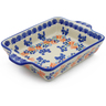 9-inch Stoneware Rectangular Baker with Handles - Polmedia Polish Pottery H4049J