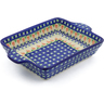 9-inch Stoneware Rectangular Baker with Handles - Polmedia Polish Pottery H4050J