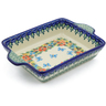 9-inch Stoneware Rectangular Baker with Handles - Polmedia Polish Pottery H4153J