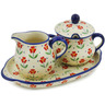9-inch Stoneware Sugar and Creamer Set - Polmedia Polish Pottery H2585K