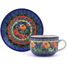 9 oz Stoneware Cup with Saucer - Polmedia Polish Pottery H0734G