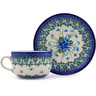 9 oz Stoneware Cup with Saucer - Polmedia Polish Pottery H0834I