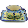 9 oz Stoneware Cup with Saucer - Polmedia Polish Pottery H3092K