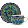 9 oz Stoneware Cup with Saucer - Polmedia Polish Pottery H3688F