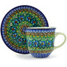 9 oz Stoneware Cup with Saucer - Polmedia Polish Pottery H3754G