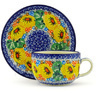 9 oz Stoneware Cup with Saucer - Polmedia Polish Pottery H4106F