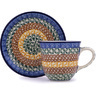 9 oz Stoneware Cup with Saucer - Polmedia Polish Pottery H5484G