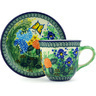 9 oz Stoneware Cup with Saucer - Polmedia Polish Pottery H5636G