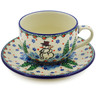 9 oz Stoneware Cup with Saucer - Polmedia Polish Pottery H5810I