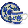 9 oz Stoneware Cup with Saucer - Polmedia Polish Pottery H6129F