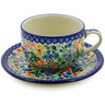 9 oz Stoneware Cup with Saucer - Polmedia Polish Pottery H8276A