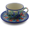 9 oz Stoneware Cup with Saucer - Polmedia Polish Pottery H8329I