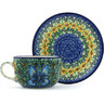 9 oz Stoneware Cup with Saucer - Polmedia Polish Pottery H9108G