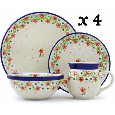 Polish Pottery 16-Piece Place Setting BOLEC Simple Scarlet