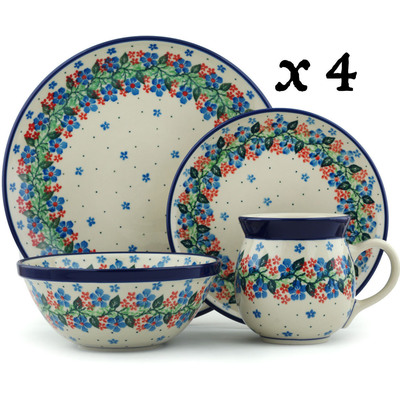 Polish Pottery 16-Piece Place Setting BOLEC Summer Wreath