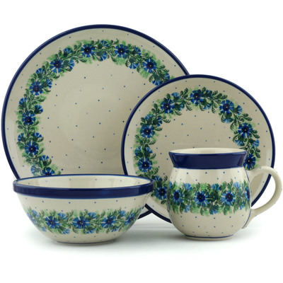 Polish Pottery 4-Piece Place Setting Blue Bell Wreath
