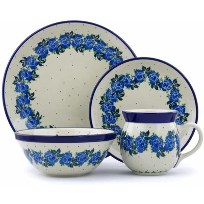 Polish Pottery 4-Piece Place Setting Blue Garland