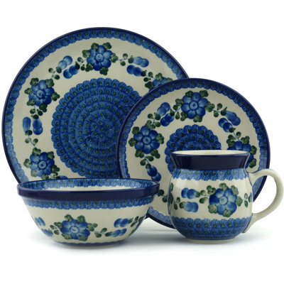 Polish Pottery 4-Piece Place Setting Blue Poppies