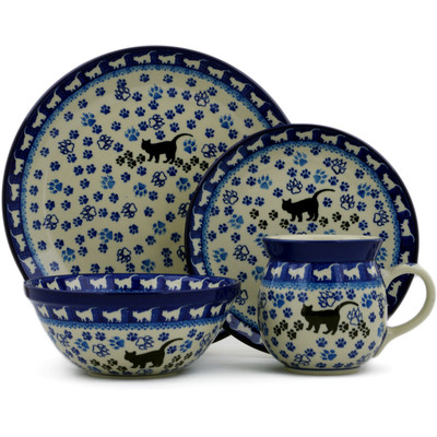 Polish Pottery 4-Piece Place Setting Boo Boo Kitty Paws