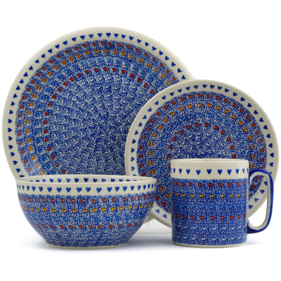 Polish Pottery 4-Piece Place Setting Colorful Love