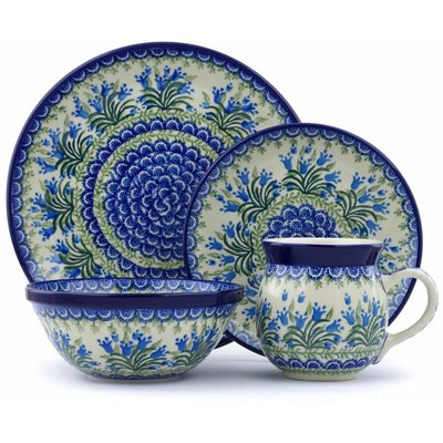 Polish Pottery 4-Piece Place Setting Feathery Bluebells