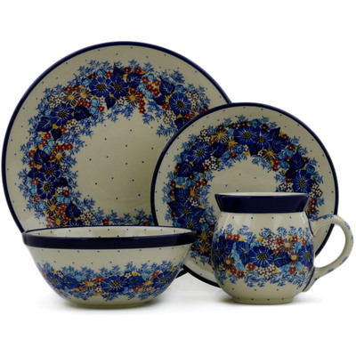 Polish Pottery 4-Piece Place Setting Flower Wreath UNIKAT