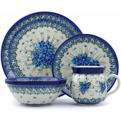 Polish Pottery 4-Piece Place Setting Forget Me Not